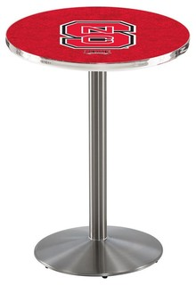 "NC State Wolfpack Cafe Table With Round Base Brushed Stainless 28""x36"""