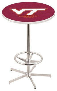 Virginia Tech Hokies Pub Table With Foot Ring Polished Chrome 36""
