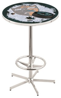 San Jose Sharks Pub Table With Foot Ring Polished Chrome 28""