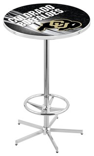 Colorado Buffaloes Pub Table With Foot Ring Polished Chrome 36""