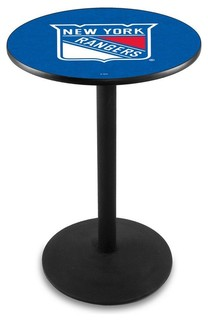 "New York Rangers Cafe Table With Round Base Black Wrinkle 28""x42"""