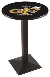 "Modern Georgia Tech Yellow Jackets Game Room Table Black Wrinkle 36""x42"""