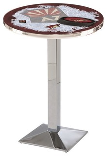 "Arizona Coyotes Mid-Century Modern Pub Table Polished Chrome 28""x36"""