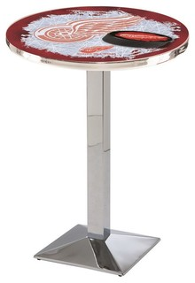 "Detroit Red Wings Mid-Century Modern Pub Table Polished Chrome 28""x42"""