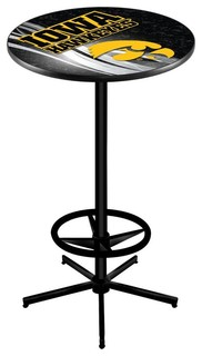 Iowa Hawkeyes Pub Table With Foot Ring Black Wrinkle 28""