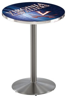 """Virginia Cavaliers Pub Table Brushed Stainless 36""""x36"""""""