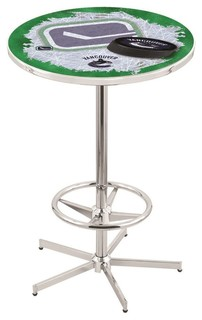 Vancouver Canucks Pub Table With Foot Ring Polished Chrome 36""