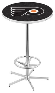 """Philadelphia Flyers Black Bar Table With Foot Rest Polished Chrome 28"""""""
