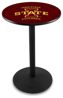 """Iowa State Cyclones Cafe Table With Round Base Black Wrinkle 28""""x42"""""""
