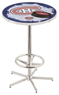 Montreal Canadiens Pub Table With Foot Ring Polished Chrome 36""