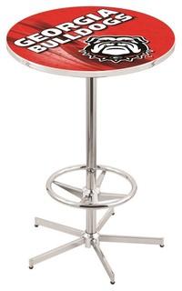 "Georgia Bulldogs Mascot Dawg Pub Table With Foot Ring Polished Chrome 36"""