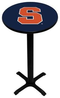 Blue Syracuse Orange Pedestal Pub Table With Black Base