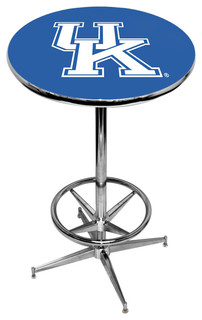 University of Kentucky Blue Pub Table With Chrome Foot Ring Base