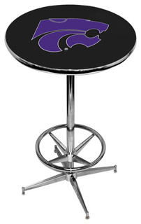 Kansas State Wildcats Black Pub Table With Chrome Foot Ring Base