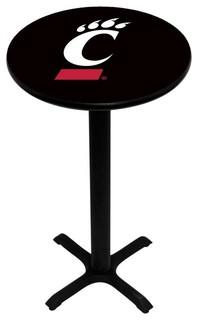 Black Cincinnati Bearcats Pedestal Pub Table With Black Base