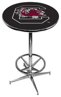 South Carolina Gamecocks Black Pub Table With Chrome Foot Ring Base