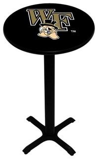 Black Wake Forest Demon Deacons Pedestal Pub Table With Black Base