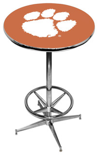 Clemson Tigers Purple Pub Table With Chrome Foot Ring Base