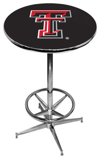 Texas Tech Red Raiders Black Pub Table With Chrome Foot Ring Base