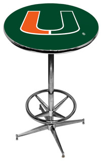 Miami Hurricanes Green Pub Table With Chrome Foot Ring Base