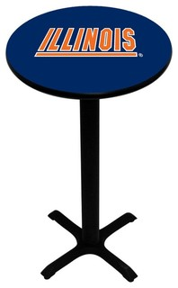 Blue Illinois Fighting Illini Pedestal Pub Table With Black Base
