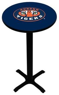 Blue Auburn Tigers Pedestal Pub Table With Black Base