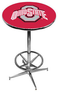 Ohio State Buckeyes Scarlet Pub Table With Chrome Foot Ring Base