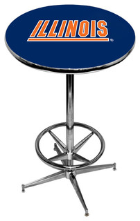 Illinois Fighting Illini Blue Pub Table With Chrome Foot Ring Base