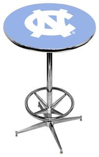 UNC Tar Heels Carolina Blue Pub Table With Chrome Foot Ring Base