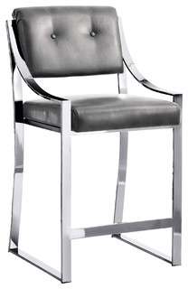 Savoy Gray Leather Counter Stool