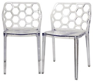 Honeycomb Acrylic Dining Chairs Set of 2 Clear
