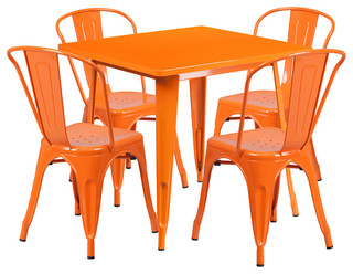 31.5'' Square Orange Metal Indoor Outdoor Table Set With 4 Stack Chairs