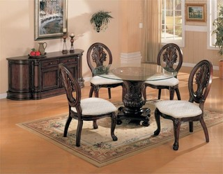 Coaster Tabitha 5-Piece Glass Top Dining Table Set Dark Cherry