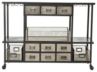 Autumn Elle Design Cruz Industrial Bar Cart Black Antique Nickel