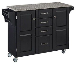 Hawthorne Collections Granite Top Kitchen Cart Black