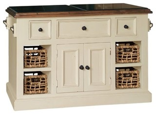 Bowery Hill Large Granite Top Kitchen Island White