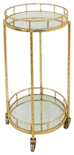 "Sagebrook Home 18"" Metal and Mirror Round Bar Cart Gold"
