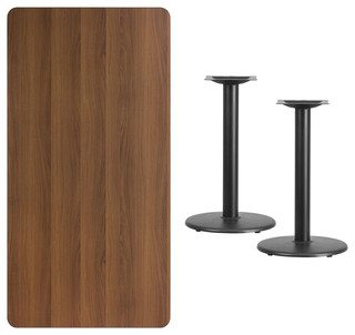 """Flash Furniture 30""""x60"""" Rectangular Table Top 18"""" Round Table Height Bases"""