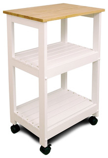 Kitchen Cart with Shelving White