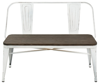 Oregon Industrial Dining Bench Vintage White Metal And Espresso Bamboo