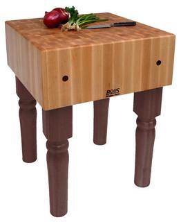 "John Boos AB 10"" Maple Butcher Block Table/Island Walnut Stain"