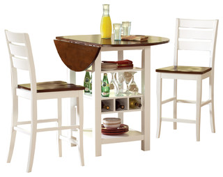 "White Mahogany Finish Ridgewood Drop Leaf Wine Rack Counter Table 40"" Diameter"