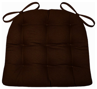 Cotton Duck Brown Solid Color Dining Chair Pads Latex Foam Fill Reversible