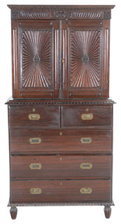 Consigned Beautiful Anglo Indian Sunburst Campaign Cabinet