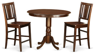 Alicia Counter-Height Dining Table Set Mahogany 3 Pieces Wood