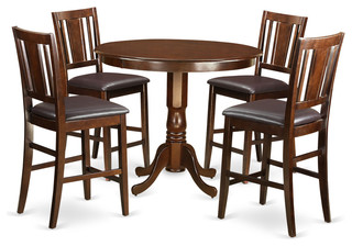 Alicia Counter-Height Dining Table Set Mahogany 5 Pieces Faux Leather
