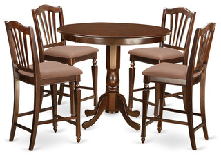 Alice Counter-Height Dining Table Set Mahogany 5 Pieces Microfiber