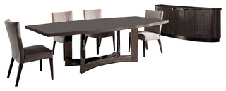"""Rossetto Dune Visone 102"""" Dining Table 6 Chairs and Buffet 8-Piece Set"""