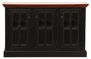 Console Cabinet With 3-Door Antique Black-Concord Cherry