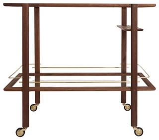 Walnut Bar Cart With Brass Hardware
